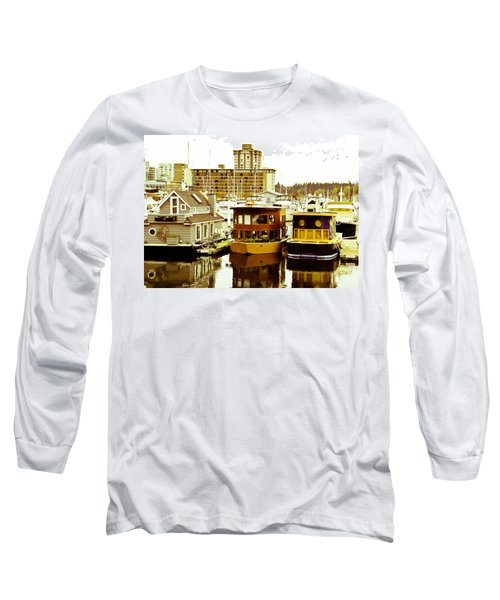 Long Sleeve T-Shirt featuring the photograph Boathouses by Eti Reid