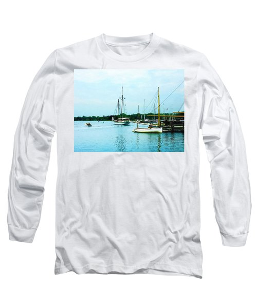 Long Sleeve T-Shirt featuring the photograph Boats On A Calm Sea by Susan Savad