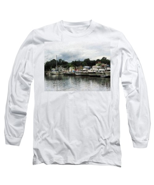 Long Sleeve T-Shirt featuring the photograph Boats On A Cloudy Day Essex Ct by Susan Savad