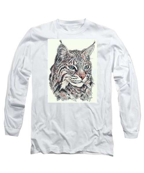 Long Sleeve T-Shirt featuring the drawing Bobcat Portrait by VLee Watson