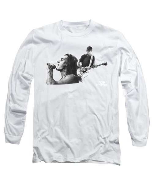 Long Sleeve T-Shirt featuring the drawing Bono And The Edge by Marianne NANA Betts