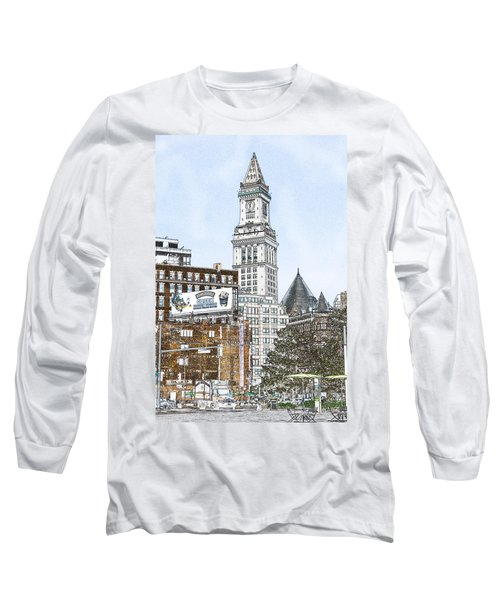 Boston Custom House Tower Long Sleeve T-Shirt by Fred Larson