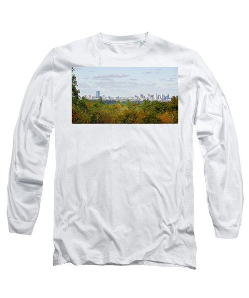 Boston Skyline In Autumn Long Sleeve T-Shirt