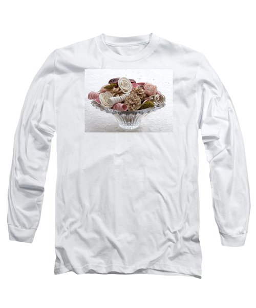 Bowl Of Potpourri On Lace Long Sleeve T-Shirt by Connie Fox