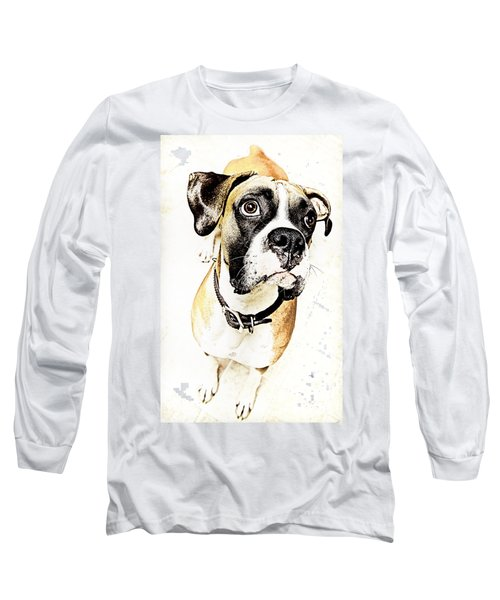 Long Sleeve T-Shirt featuring the photograph Boxer Dog Poster by Peter v Quenter