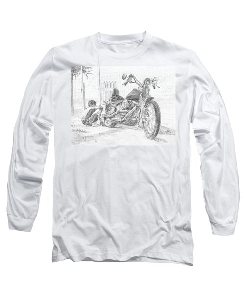 Boy And Motorcycle Long Sleeve T-Shirt