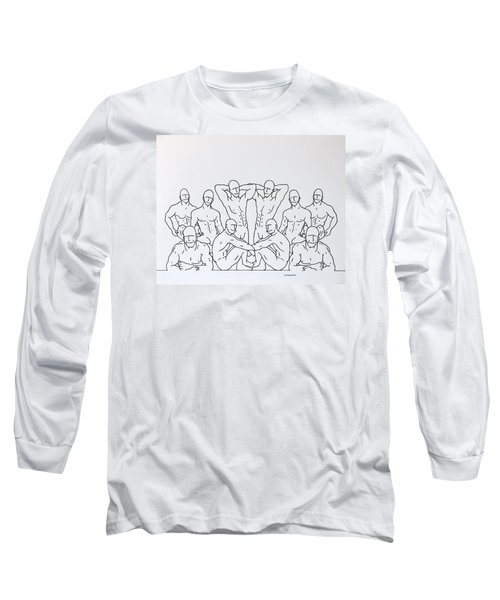 Long Sleeve T-Shirt featuring the drawing Boys At Play #3 by Thomas Gronowski