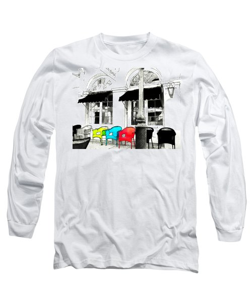 Long Sleeve T-Shirt featuring the photograph Bright Bistro by Kathy Bassett
