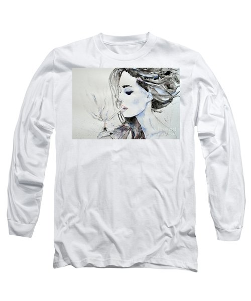 Long Sleeve T-Shirt featuring the painting Brigitte Bardot by Ismeta Gruenwald
