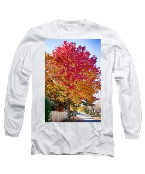 brilliant autumn colors on a Marblehead street Long Sleeve T-Shirt by Jeff Folger