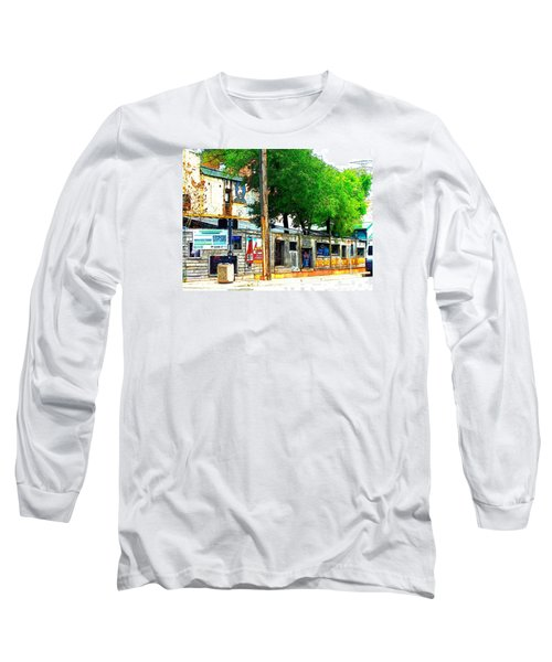 Broadway Oyster Bar With A Boost Long Sleeve T-Shirt by Kelly Awad