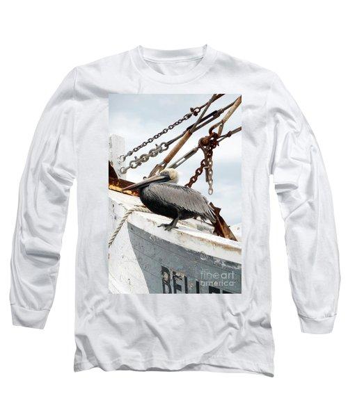 Brown Pelican Long Sleeve T-Shirt by Valerie Reeves