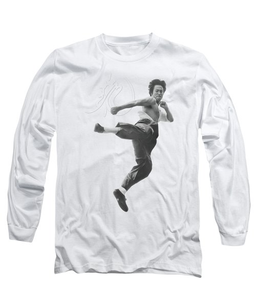 Bruce Lee - Flying Kick Long Sleeve T-Shirt by Brand A