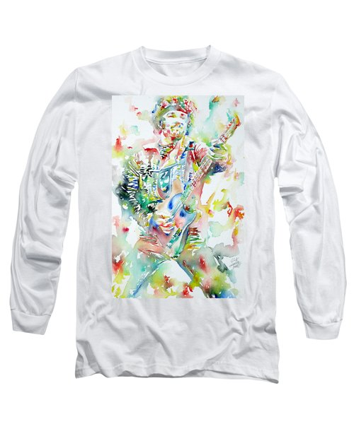 Bruce Springsteen Playing The Guitar Watercolor Portrait Long Sleeve T-Shirt