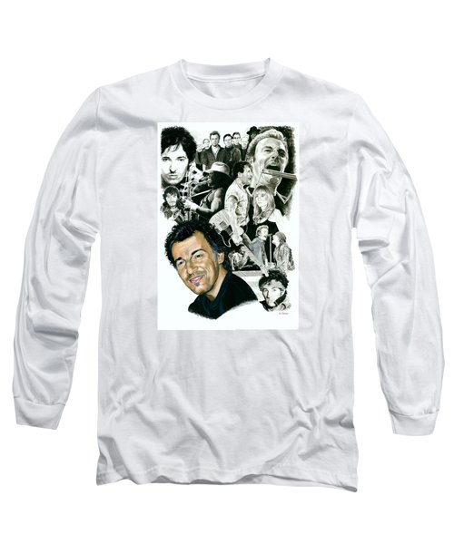 Bruce Springsteen Through The Years Long Sleeve T-Shirt by Ken Branch