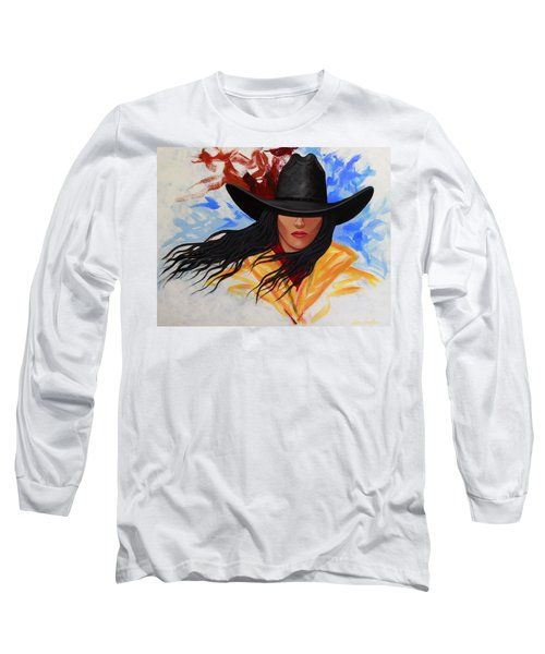 Brushstroke Cowgirl #3 Long Sleeve T-Shirt by Lance Headlee