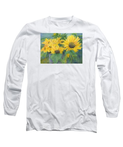 Bucket Of Sunflowers Colorful Original Painting Sunflowers Sunflower Art K. Joann Russell Artist Long Sleeve T-Shirt