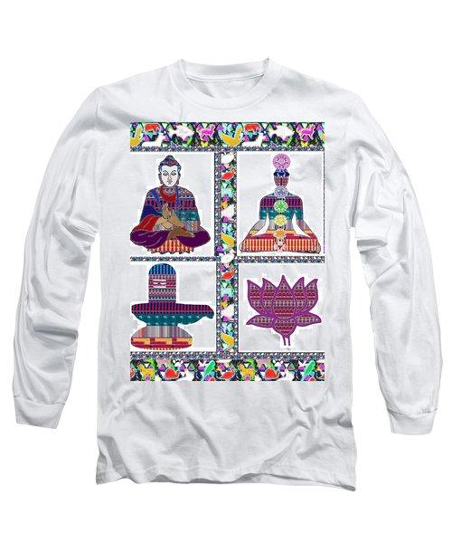 Buddha Yoga Chakra Lotus Shivalinga Meditation Navin Joshi Rights Managed Images Graphic Design Is A Long Sleeve T-Shirt by Navin Joshi