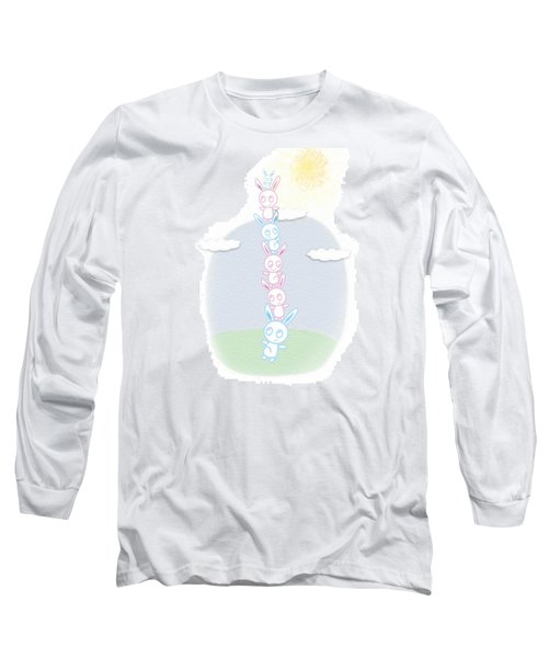 Long Sleeve T-Shirt featuring the drawing Bunny Tower Childrens Illustration by Lenny Carter