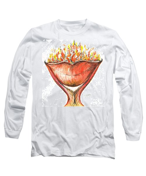 Long Sleeve T-Shirt featuring the painting Burning Hot Lips by Teresa White