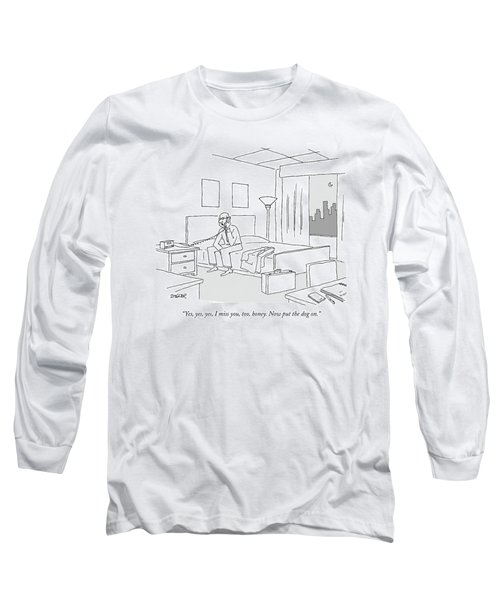 Businessman Sitting On A Bed In Hotel Room Long Sleeve T-Shirt