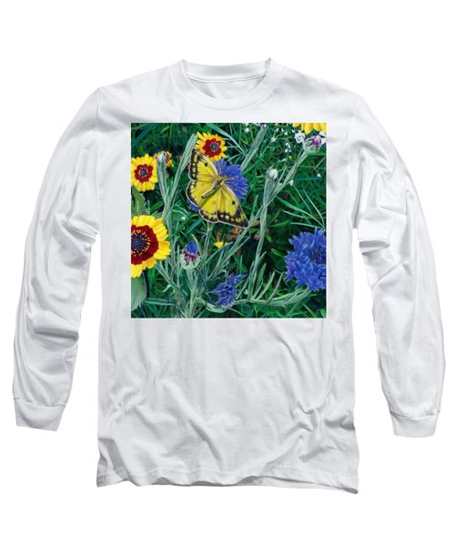 Butterfly And Wildflowers Spring Floral Garden Floral In Green And Yellow - Square Format Image Long Sleeve T-Shirt