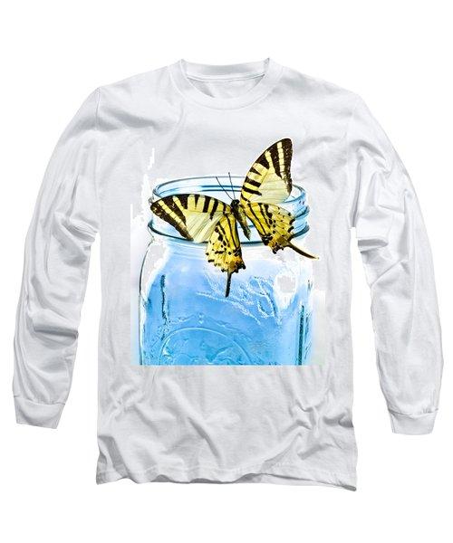 Butterfly On A Blue Jar Long Sleeve T-Shirt by Bob Orsillo