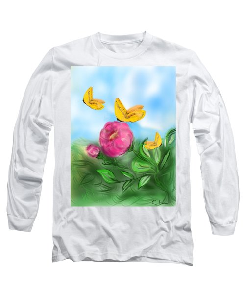 Long Sleeve T-Shirt featuring the digital art Butterfly Triplets by Christine Fournier