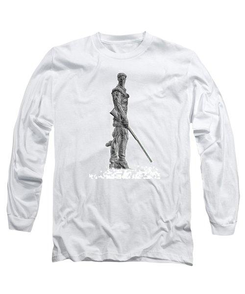Bw Of Mountaineer Statue Long Sleeve T-Shirt by Dan Friend