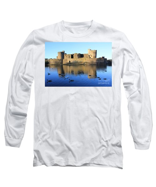 Caerphilly Castle Long Sleeve T-Shirt by Vicki Spindler