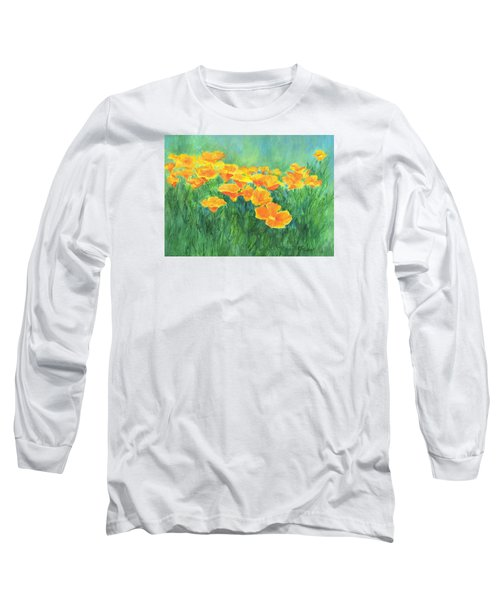 California Golden Poppies Field Bright Colorful Landscape Painting Flowers Floral K. Joann Russell Long Sleeve T-Shirt by Elizabeth Sawyer