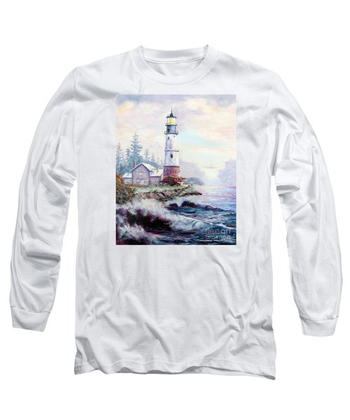 Long Sleeve T-Shirt featuring the painting California Lighthouse by Lee Piper