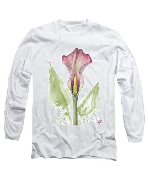 Long Sleeve T-Shirt featuring the painting Calla Lily 01 - Elena Yakubovich by Elena Yakubovich