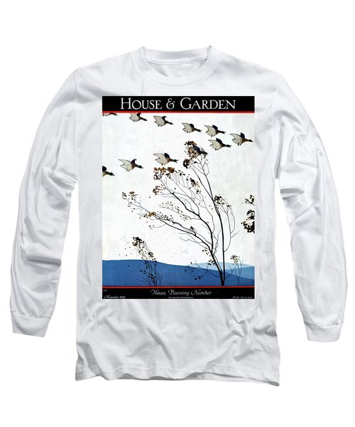 Canadian Geese Over Brown-leafed Trees Long Sleeve T-Shirt