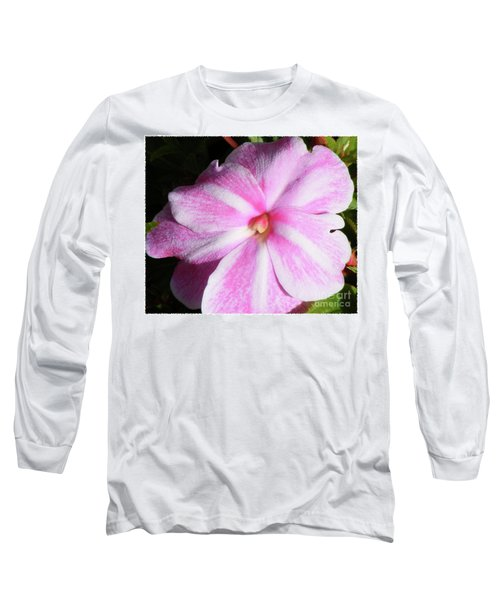 Candy Cane Impatiens Long Sleeve T-Shirt by Barbara Griffin