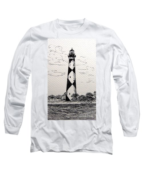 Long Sleeve T-Shirt featuring the drawing Cape Lookout Lighthouse Nc by Julie Brugh Riffey