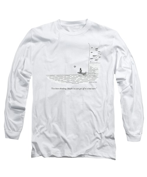 Captain Ahab Rows A Small Boat Right Up To Moby Long Sleeve T-Shirt