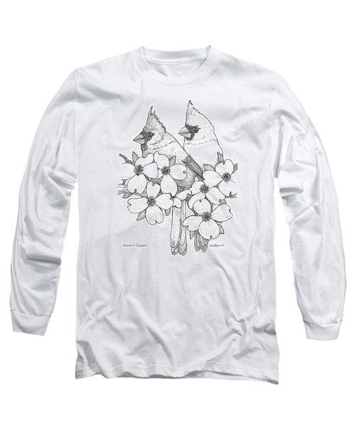 Cardinals And Dogwoods Long Sleeve T-Shirt by Jim Harris
