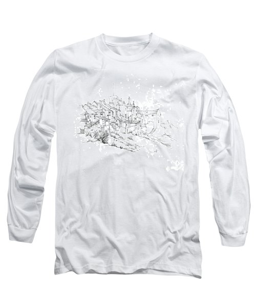 Long Sleeve T-Shirt featuring the drawing Castletown Coastal Houses by Paul Davenport