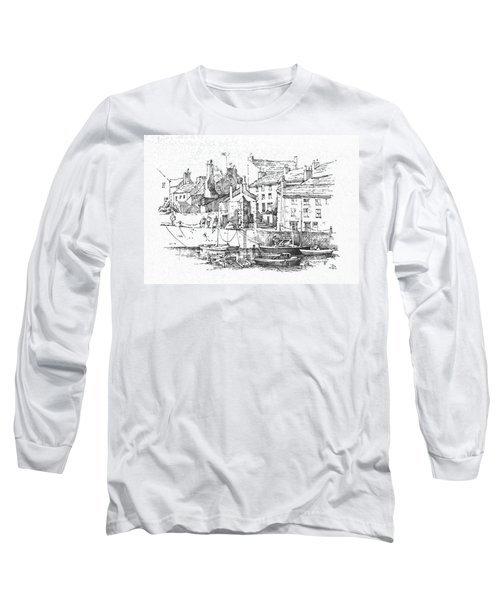 Long Sleeve T-Shirt featuring the drawing Castletown Harbour by Paul Davenport