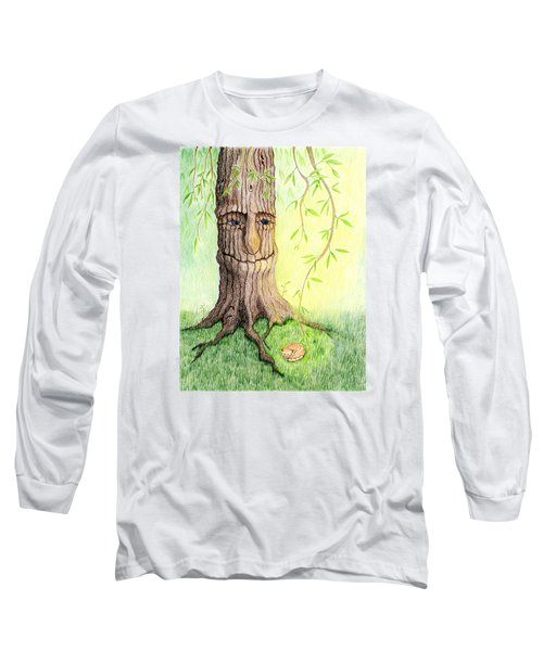 Long Sleeve T-Shirt featuring the drawing Cat And Great Mother Tree by Keiko Katsuta