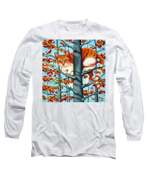 Orange Cat In Tree Autumn Fall Colors Long Sleeve T-Shirt