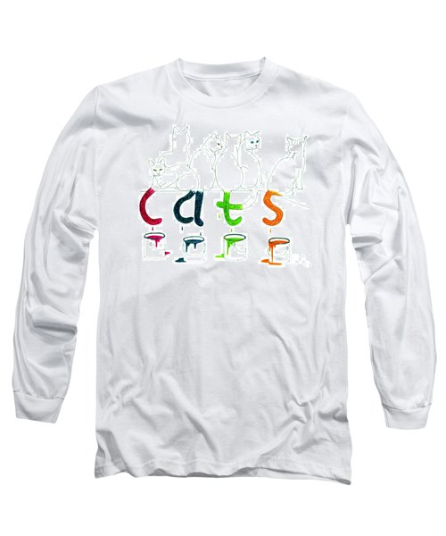 Cats With Paint Cans Long Sleeve T-Shirt by Patricia Overmoyer