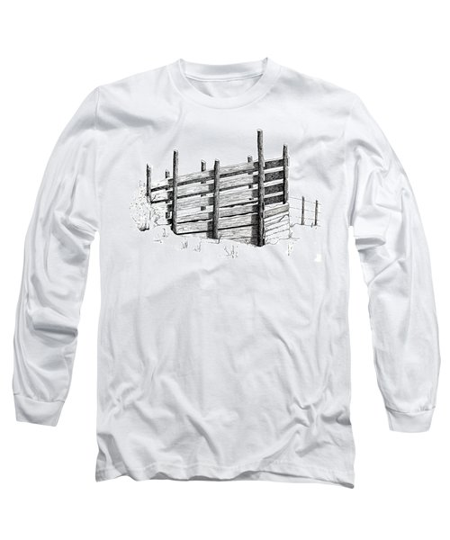 Long Sleeve T-Shirt featuring the painting Cattle Chute Ink by Richard Faulkner