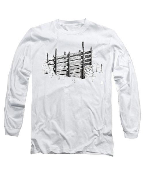 Cattle Chute Ink Long Sleeve T-Shirt by Richard Faulkner