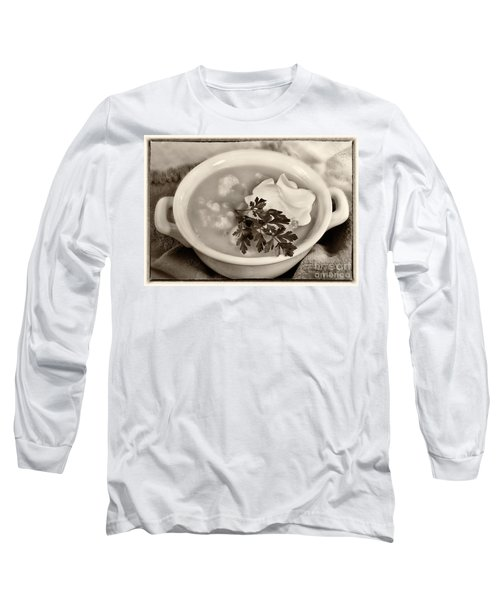 Cauliflower Soup Sepia Tone Long Sleeve T-Shirt by Iris Richardson