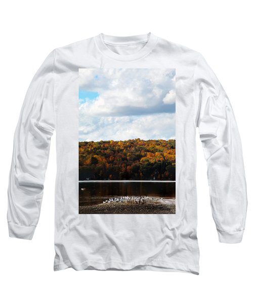 Long Sleeve T-Shirt featuring the photograph Cayuga Lake In Colorful Fall Ithaca New York  by Paul Ge
