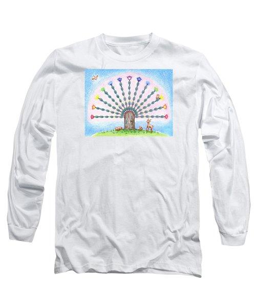 Long Sleeve T-Shirt featuring the drawing Chakra Tree by Keiko Katsuta
