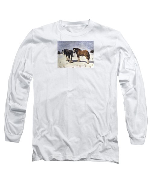 Long Sleeve T-Shirt featuring the painting Chance Of Flurries by Angela Davies