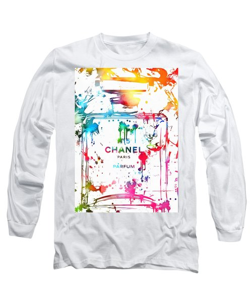 Chanel Number Five Paint Splatter Long Sleeve T-Shirt by Dan Sproul